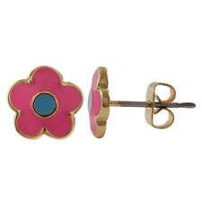 Gold Plated Hot Pink & Turquoise Enamel Flower Kids Teens Stud Earrings