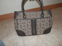Pierre Cardin Logo Fabric Suede and Leather Handbag Purse