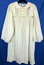 Barbizon Super Thin Vintage Lawn Nightgown Pleated/Lace Yoke Sissy Granny Sz M