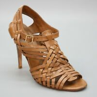 Tory Burch 9.5 M Tan/Brown Strappy Leather Heels Peep Toe Fisherman Sandals