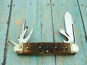 VINTAGE WW1 IMPERIAL US BONE UTILITY SCOUT SKI PATROL POCKET KNIFE KNIVES TOOLS