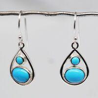 925 Sterling Silver Sleeping Beauty Turquoise Gemstone 2.7 g Earring Jewelry CCI
