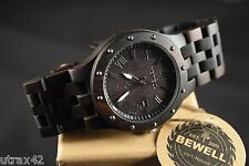 Men's Casual Wooden Watch Black Brown Sandal Wood Roman Numerals Round Bewell