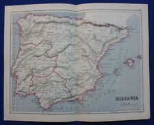 Original Antiguo Mapa Antiguo España & Portugal, Hispania, Weller 1877
