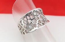 925 Sterling Silver Cubic Zirconia Flower & Filigree Band Ring