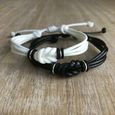 Couple Bracelets, Black and White, His and Hers, Distance, Love Knot, Anniversar