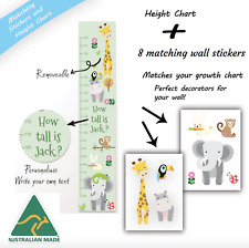 Personalised Cute Zoo Animals Measuring Height Growth Stickers Chart Pack