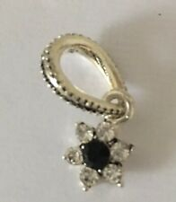 SILVER PLATED PRETTY BLACK FLOWER DANGLE CHARM BEAD WITH CZ