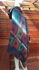 Multi Coloured Aztec print Hoodie Poncho Cover up cape with tassled edges