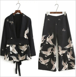 Women's Japanese Suit Pants Animal Print Outfits Sets Wide-Leg Baggy Trousers