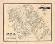 Map of Hill County Tx c1886 repro 24x20