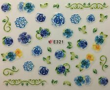 Nail Art 3D Decal Stickers Blue Roses E321