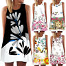 Vintage Women Summer Sleeveless Floral Beach Casual Beach Party Short Mini Dress