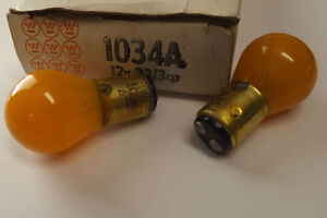 2 pc Vtg Westinghouse 1034A Painted Amber Stop/Turn Signal Taillight Bulbs
