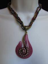 New Women Strands Fashion Necklace Purple Glass Snale Pendant Rhinestones