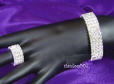 Diamonte / Diamante Crystal 4 Row Stretchy Bracelet & Matching 4 Row Ring - NEW!