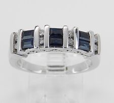 Diamond and Sapphire Wedding Ring Anniversary Band White Gold Size 7 September