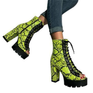 Womens Fashion Peep Toe Zip Ankle Boots Lace Up Block High Heels Platform Shoes