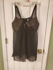 Lane Bryant Cacique Black Lingerie Size 44DD With Underwire Black Lace With Gold