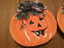 Fitz and Floyd Halloween Cat Plate