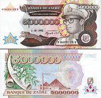 Zaire 5000000 5,000,000 Million ZAIRES 1992, UNC, P-46, Leopard
