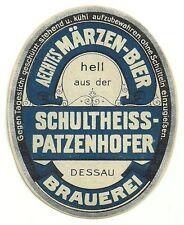 """ALT ! Bieretikett """"Aechtes Märzen-Bier"""" Schultheiss-Patzenhofer Brauerei Dessau"""