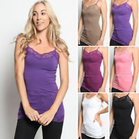 TheMogan Adjustable Spaghetti Strap Basic Plain Lace Trim Cami Tank Top