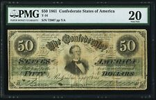 "1861 T-16 $50 ""Jefferson Davis"" Confederate CSA Old Money PMG 20 comment"