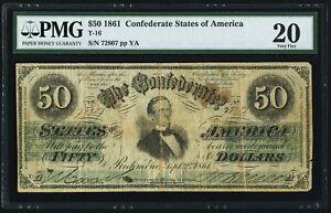 "1861 T-16 $50 ""Jefferson Davis"" Confederate CSA Old Money PMG 20 comment"