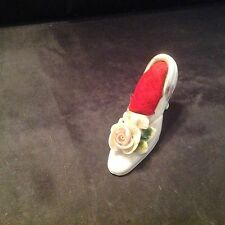 Vintage Porcelain Shoe, Made in Japan, White W/flowers & Pink Rose