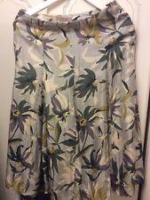 PRETTY JIGSAW/KEW SILK SKIRT Floral Eau De Nil Greens  SIZE10