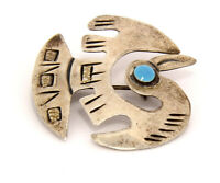 Vintage Sterling Silver and Turquoise Peruvian Bird Pin