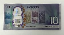 CANADA $10 2017 UNC BANK NOTE BILL - REPEATER SERIAL CBD7490749 - PLASTIC HOLDER