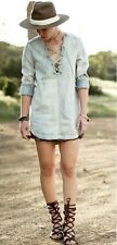 NEW Free People Washed Out Blue Cloud Soft Denim Lace Up Tunic Top Dress M