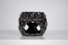 New black ceramic oil/wax tea light candle burner home decor