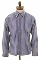 GANT Mens Shirt Small Blue Striped Cotton Fitted Pinpoint Oxford JR12