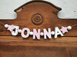 """JONNA"" NAMENSKETTE ROSA KINDERZIMMER HOLZBUCHSTABEN TAUFE GEBURT BABY NAME"