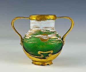 Superb Antique Enameled Carved Cameo Glass Vase with Gilt Ormolu Bronze Mounts