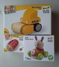 Lot of 3 Baby Plan Toys. Ladybug Bead, Bunny Racer, Mini Roller, New
