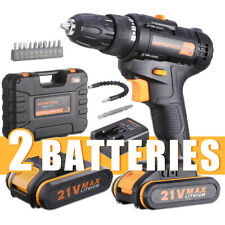 21V Cordless Drill Driver 2 Lithium-ion Battery 3/8 Inch Keyless Chuck DIY Drill