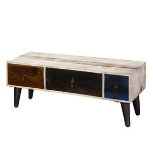 MADE TO ORDER Avalon White Rustic Mango Wood 3 Drawer Accent TV Media Console