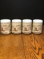 Vintage Aloha Hawaii Islands Stoneware Coffee Cup Mug Souvenir Lot Set Of 4 NICE