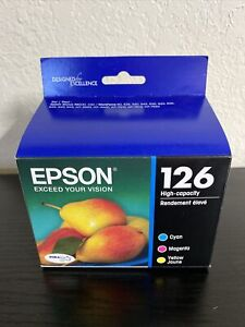 Epson 126 High Capacity Cyan Magenta Yellow Ink Cartridges T126520 Exp 10-2023