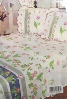 DOUBLE BED FRILLED SHEET SET POPPY FRILLED POLYCOTTON GREEN BLUE OFF CREAM