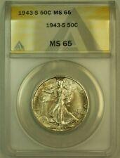 1943-S Walking Liberty Silver Half Dollar 50c ANACS MS-65 Lightly Toned