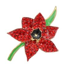Shiny Red Poppies Flower Petals with Black Rhinestones Shiny Women Brooch Pin