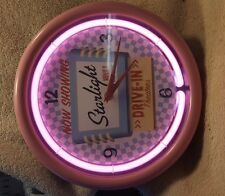 ravinia neon wall clock 11inch diameter starlight movies drive in theaters
