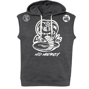 Sleeveless Pullover Hoodie Cobra Kai No Mercy Hooded Sweatshirt Black Heather