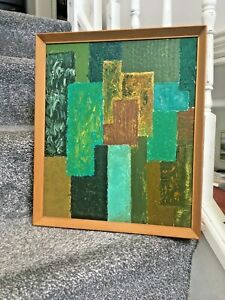 1960'S MID CENTURY TEXTURED OIL ON BOARD PAINTING ABSTRACT GEOMETRIC SHAPES MCM