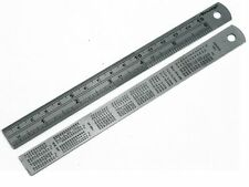 1 x Nielson 6 POLLICI/150mm Acciaio Inox tabella di conversione regola sul retro